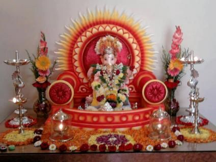 Simple Ganpati Decoration At Home Photos Decor 2017